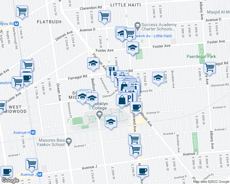 map of restaurants, bars, coffee shops, grocery stores, and more near Glenwood Rd & Kenilworth Pl in Brooklyn