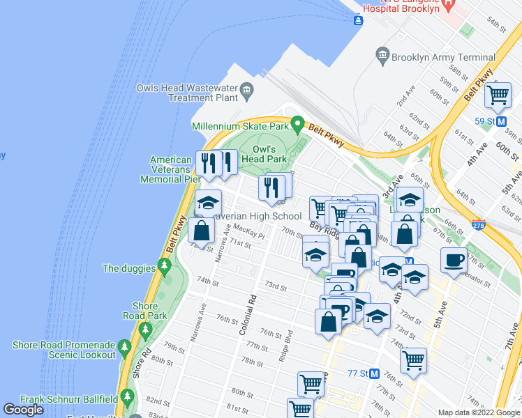 map of restaurants, bars, coffee shops, grocery sto