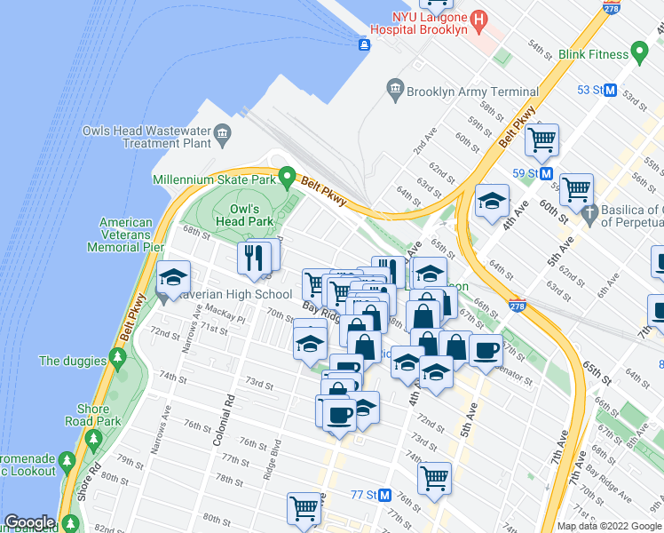 map of restaurants, bars, coffee shops, grocery stores, and more near Ridge Blvd in Brooklyn