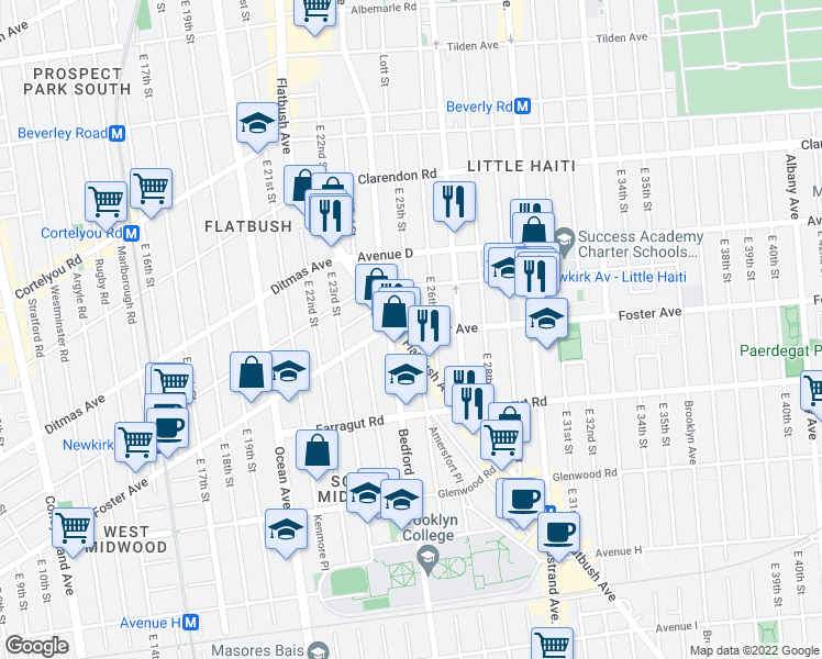map of restaurants, bars, coffee shops, grocery stores, and more near Foster Ave & E 25th St in Brooklyn