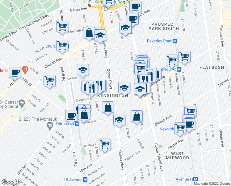 map of restaurants, bars, coffee shops, grocery stores, and more near 415 Ocean Parkway in Brooklyn