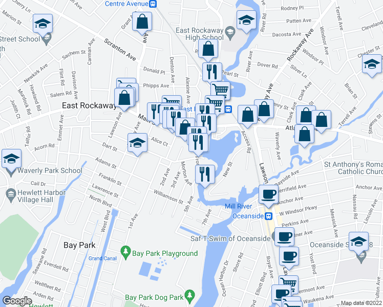 map of restaurants, bars, coffee shops, grocery stores, and more near Dock Street in East Rockaway