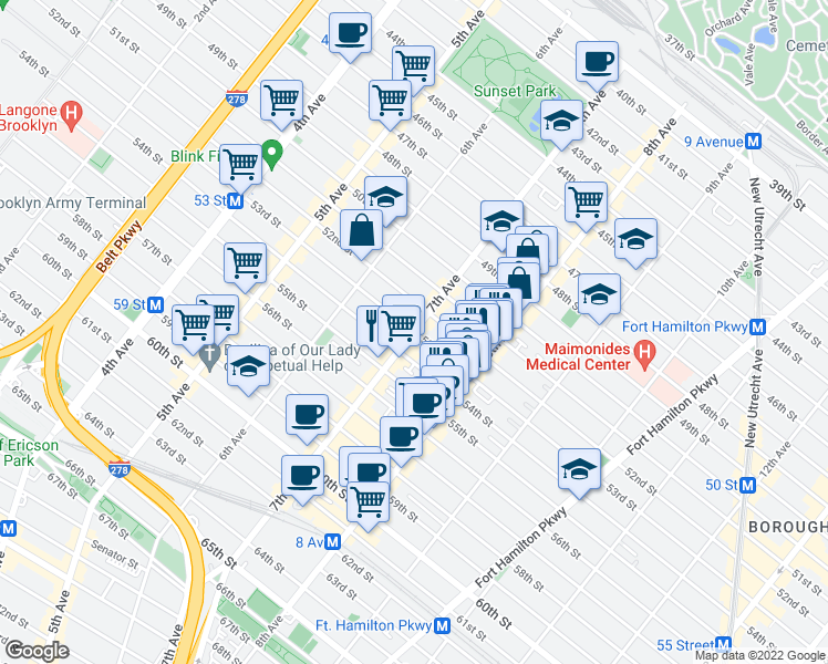 map of restaurants, bars, coffee shops, grocery stores, and more near 7th Avenue & 53rd Street in Brooklyn