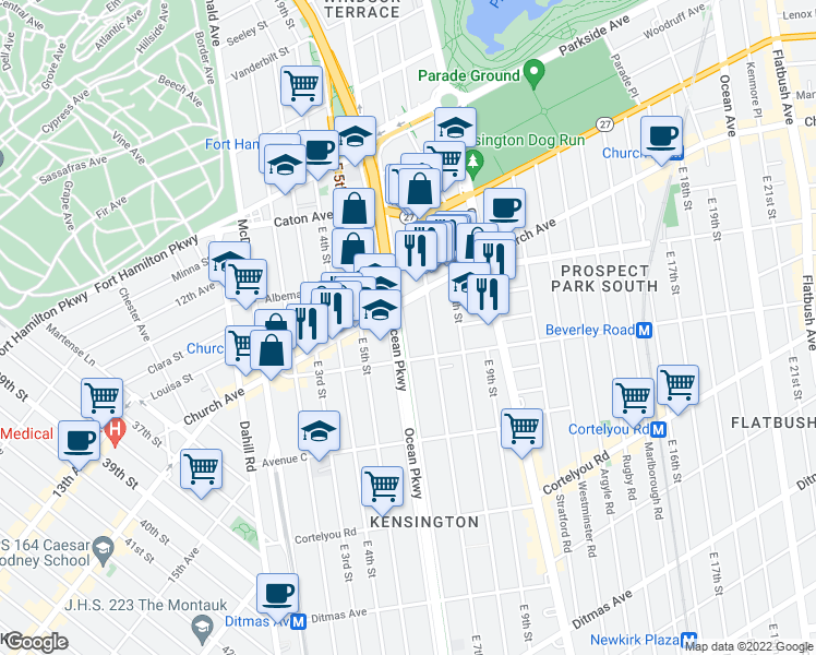 map of restaurants, bars, coffee shops, grocery stores, and more near 227 Ocean Parkway in Brooklyn