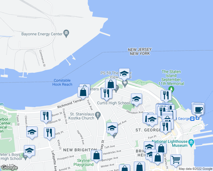 map of restaurants, bars, coffee shops, grocery stores, and more near 2-98 Bank St in Staten Island