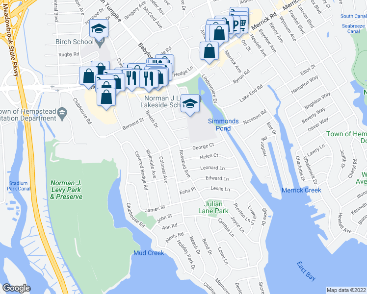 map of restaurants, bars, coffee shops, grocery stores, and more near 1859 George Ct in Merrick