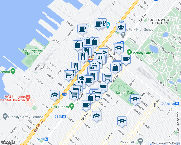 map of restaurants, bars, coffee shops, grocery stores, and more near 358 44th St in Brooklyn