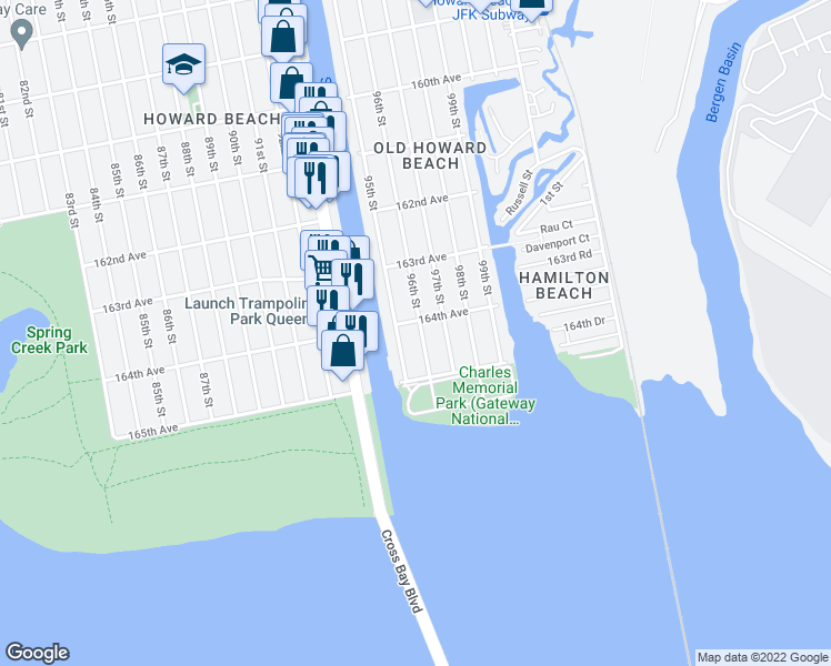 map of restaurants, bars, coffee shops, grocery stores, and more near 164-08 96th Street in Queens