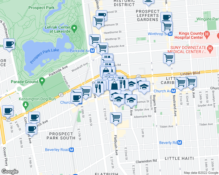 map of restaurants, bars, coffee shops, grocery stores, and more near 851-853 Flatbush Avenue in Brooklyn
