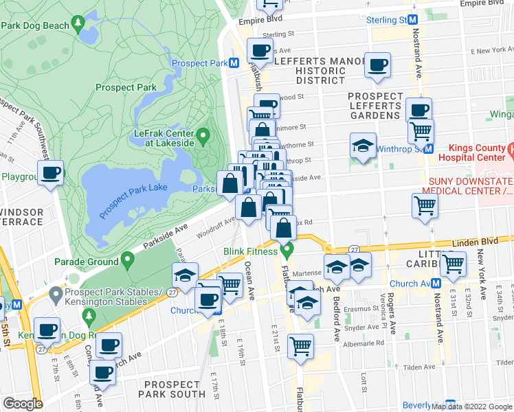 map of restaurants, bars, coffee shops, grocery stores, and more near East 21st Street & Woodruff Avenue in Brooklyn