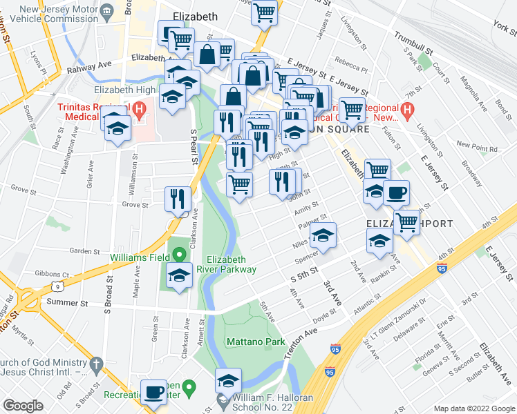 map of restaurants, bars, coffee shops, grocery stores, and more near 335 John St in Elizabeth
