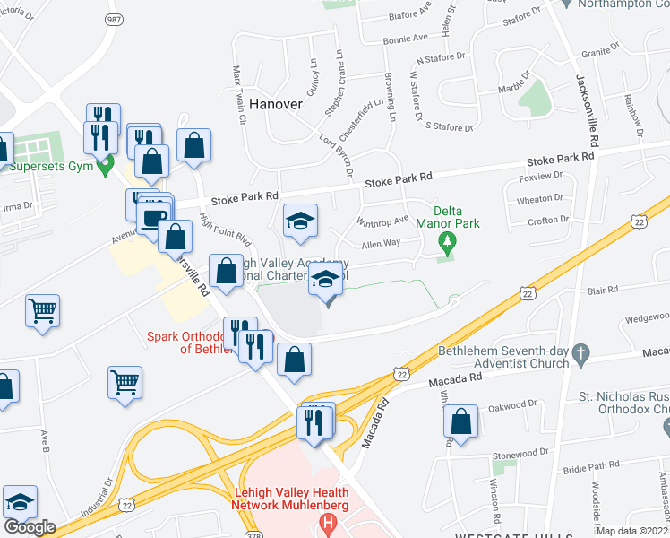 map of restaurants, bars, coffee shops, grocery stores, and more near 3210-3220 Lord Byron Dr in Bethlehem