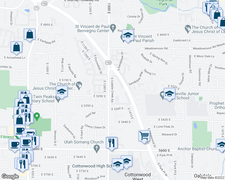 map of restaurants, bars, coffee shops, grocery stores, and more near 5270 Cobble Creek Rd in Salt Lake City