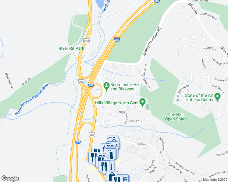 map of restaurants, bars, coffee shops, grocery stores, and more near 1 Robertson Dr in Bedminster