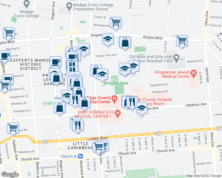 map of restaurants, bars, coffee shops, grocery stores, and more near Brooklyn Avenue & Hawthorne Street in Brooklyn