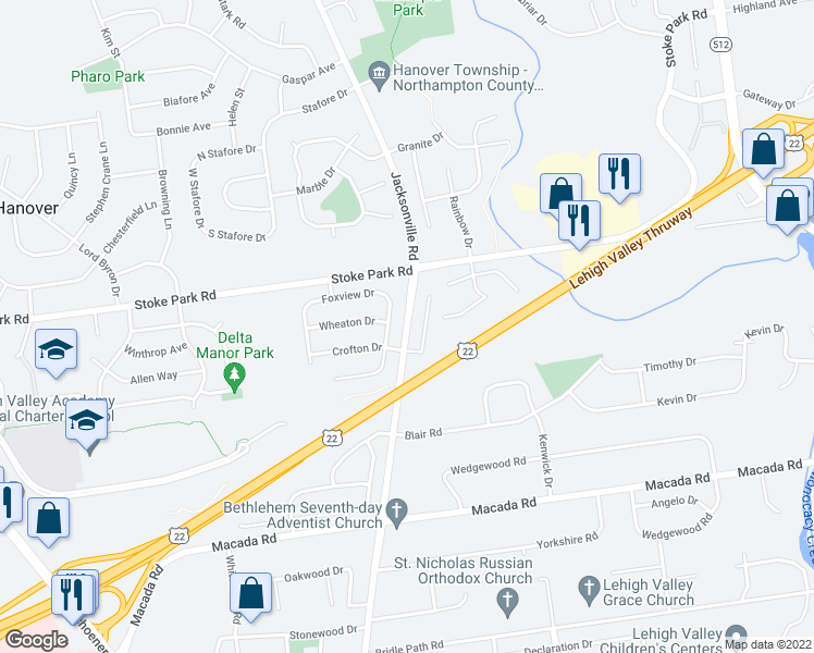 map of restaurants, bars, coffee shops, grocery stores, and more near 1262 Crofton Drive in Bethlehem