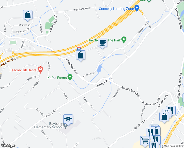 map of restaurants, bars, coffee shops, grocery stores, and more near in Berkeley Heights