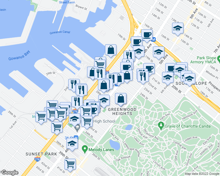 map of restaurants, bars, coffee shops, grocery stores, and more near 26th Street in Brooklyn