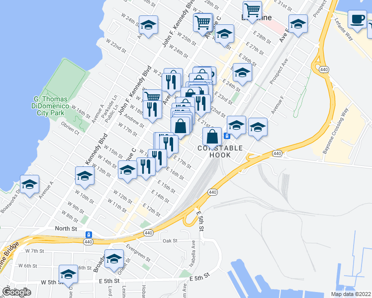 map of restaurants, bars, coffee shops, grocery stores, and more near E 18th St in Bayonne