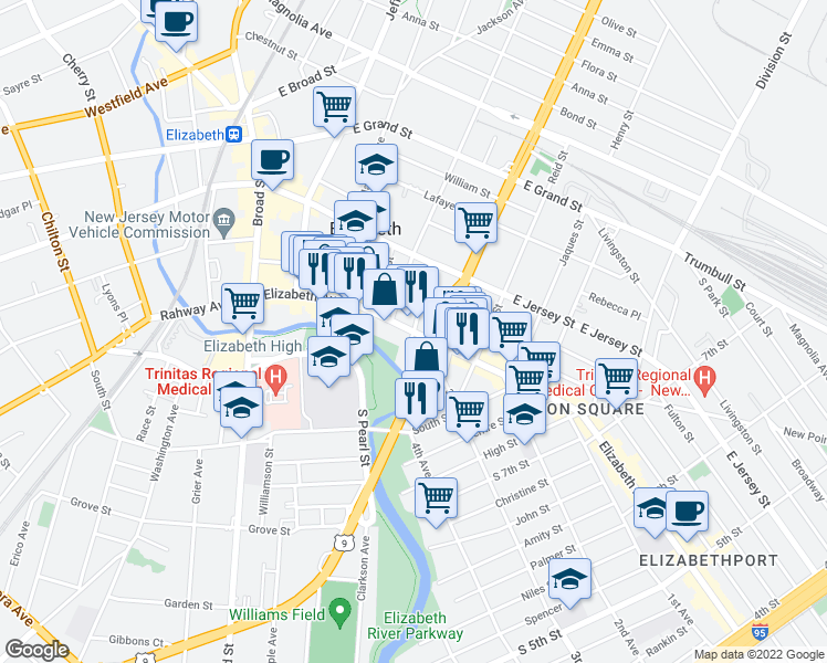 map of restaurants, bars, coffee shops, grocery stores, and more near Elizabeth Avenue in Elizabeth