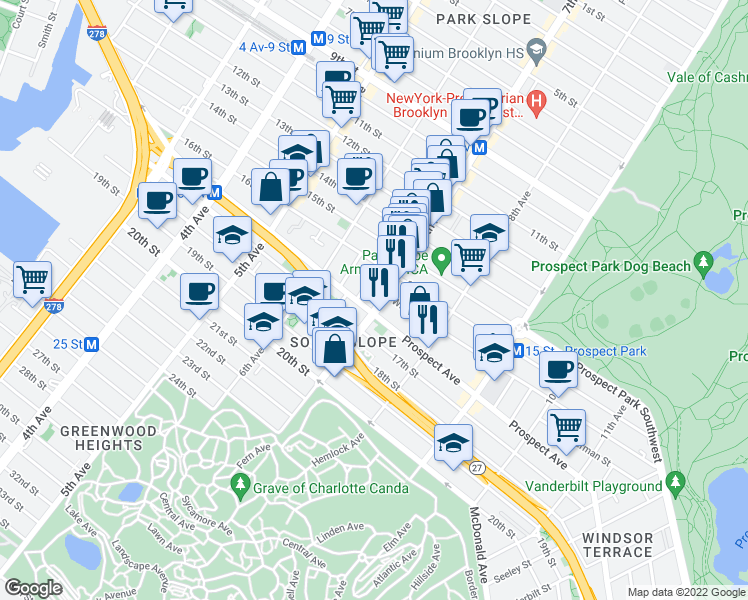 map of restaurants, bars, coffee shops, grocery stores, and more near 490 7th Avenue in Brooklyn
