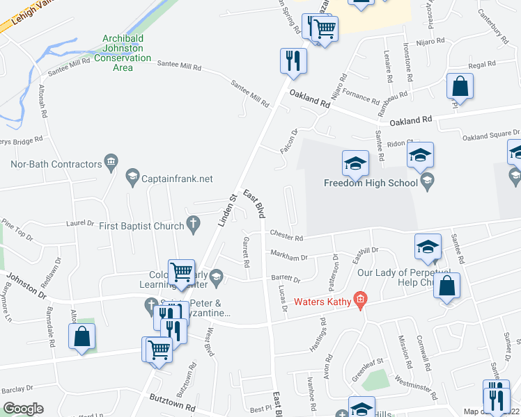map of restaurants, bars, coffee shops, grocery stores, and more near 3300-3398 East Blvd in Bethlehem