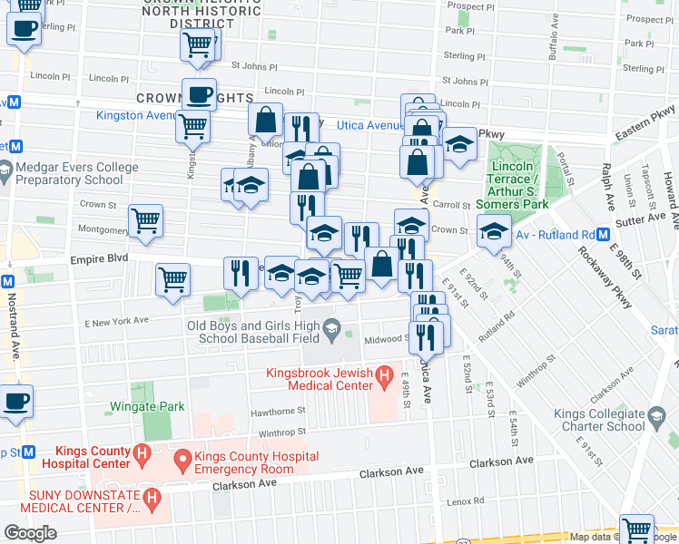map of restaurants, bars, coffee shops, grocery stores, and more near 830 Empire Boulevard in Brooklyn