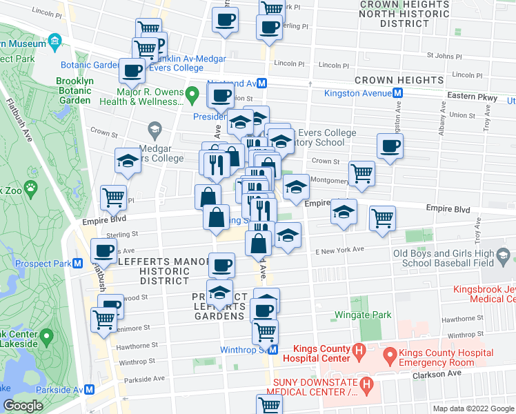 map of restaurants, bars, coffee shops, grocery stores, and more near Nostrand Avenue & Empire Boulevard in Brooklyn