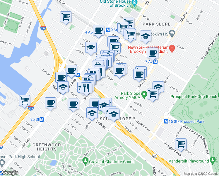 map of restaurants, bars, coffee shops, grocery stores, and more near 224 16th Street in Brooklyn