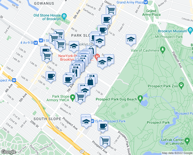 map of restaurants, bars, coffee shops, grocery stores, and more near 8th Avenue in New York