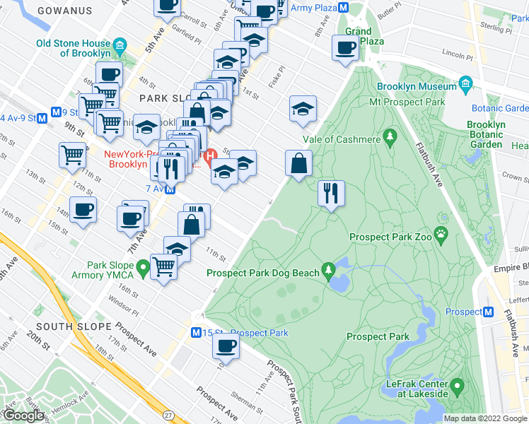 map of restaurants, bars, coffee shops, grocery stores, and more near Prospect Park West & 7th Street in Brooklyn