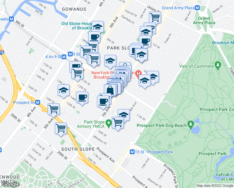 map of restaurants, bars, coffee shops, grocery stores, and more near 7th Ave & 10th St in Brooklyn