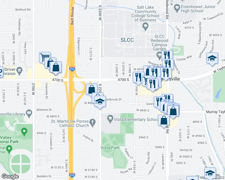 map of restaurants, bars, coffee shops, grocery stores, and more near 2099 W 4700 S in Taylorsville