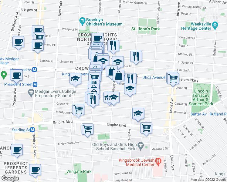 map of restaurants, bars, coffee shops, grocery stores, and more near Albany Avenue & President Street in Brooklyn