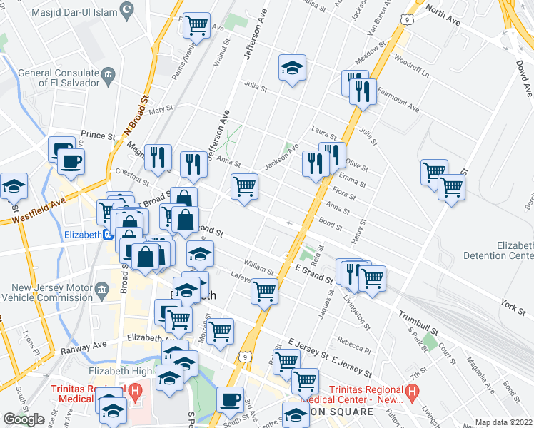 map of restaurants, bars, coffee shops, grocery stores, and more near Magnolia Ave & Catherine St in Elizabeth
