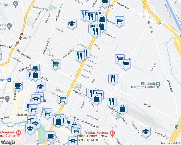 map of restaurants, bars, coffee shops, grocery stores, and more near 937 Anna St in Elizabeth