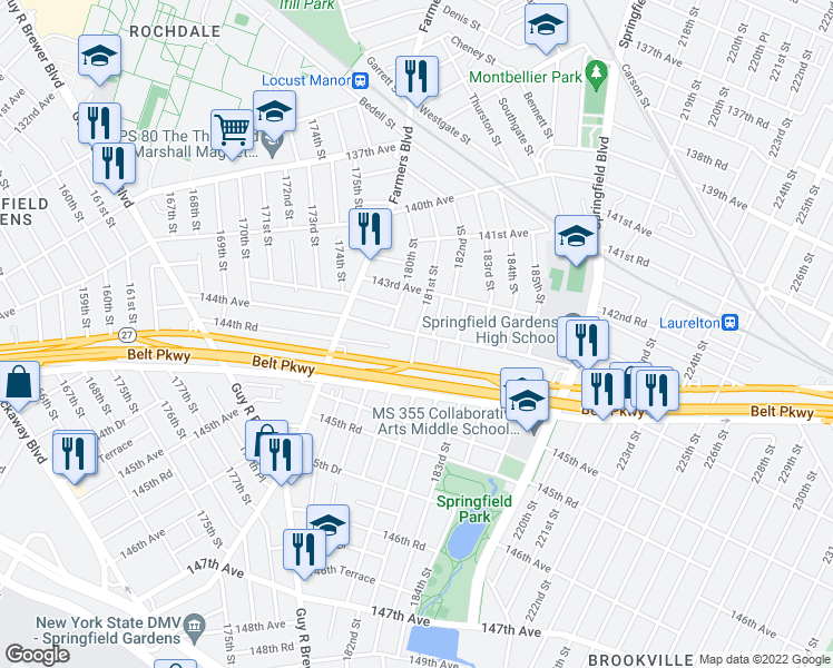 map of restaurants, bars, coffee shops, grocery stores, and more near 144th Ave & 181st St in Queens