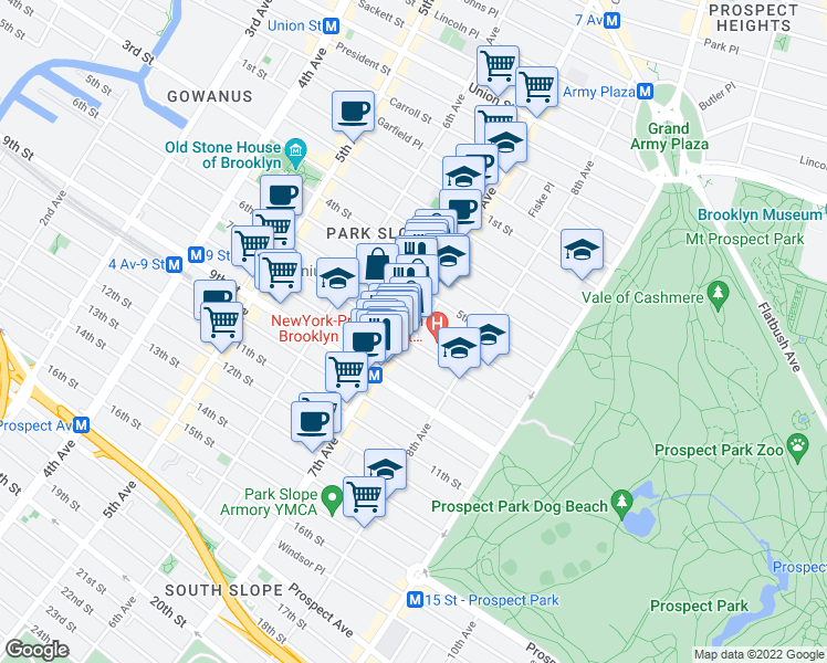 map of restaurants, bars, coffee shops, grocery stores, and more near 6th Avenue in Brooklyn