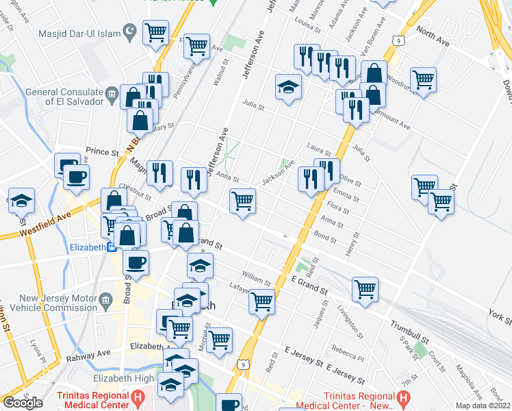 map of restaurants, bars, coffee shops, grocery stores, and more near 1056-1064 Anna Street in Elizabeth