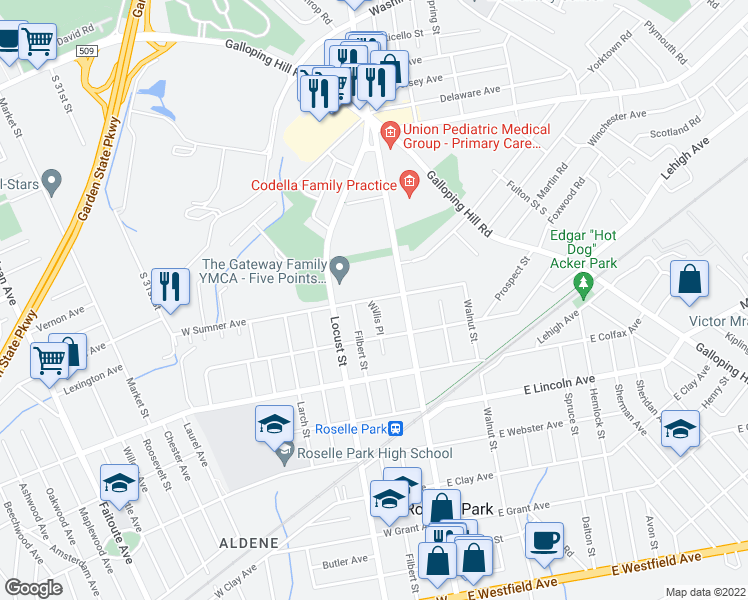 map of restaurants, bars, coffee shops, grocery stores, and more near 825 Filbert Street in Roselle Park