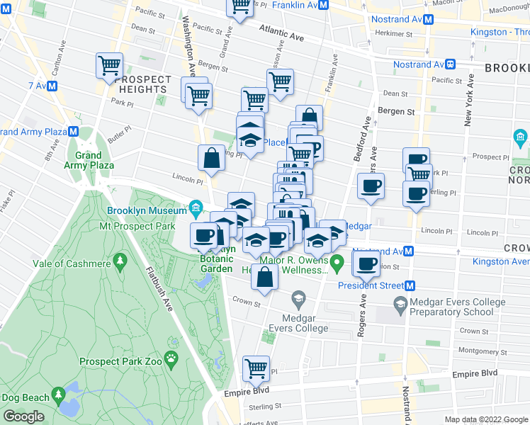 map of restaurants, bars, coffee shops, grocery stores, and more near Eastern Parkway Pedestrian Mall in Brooklyn