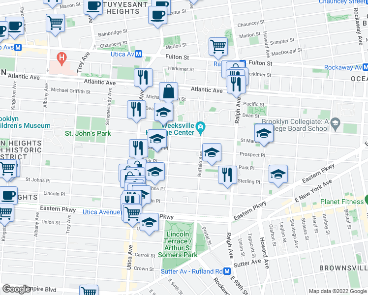 map of restaurants, bars, coffee shops, grocery stores, and more near 1499 Prospect Place in Brooklyn