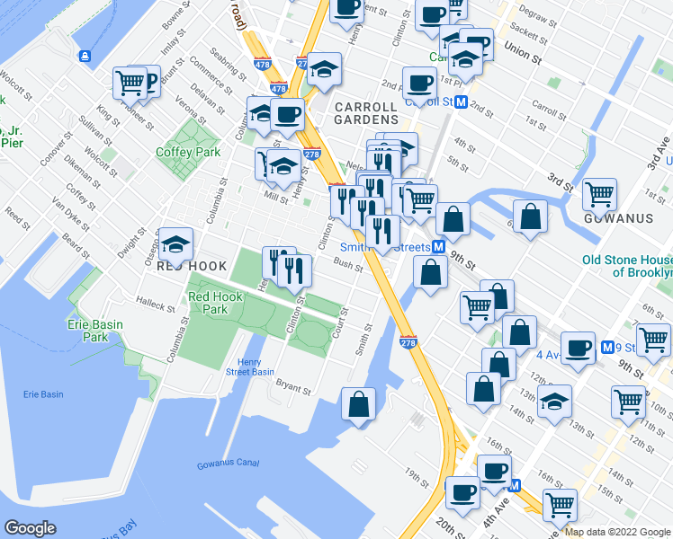 map of restaurants, bars, coffee shops, grocery stores, and more near 183 Lorraine Street in Brooklyn