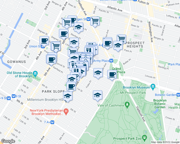 map of restaurants, bars, coffee shops, grocery stores, and more near 845 President Street in Brooklyn