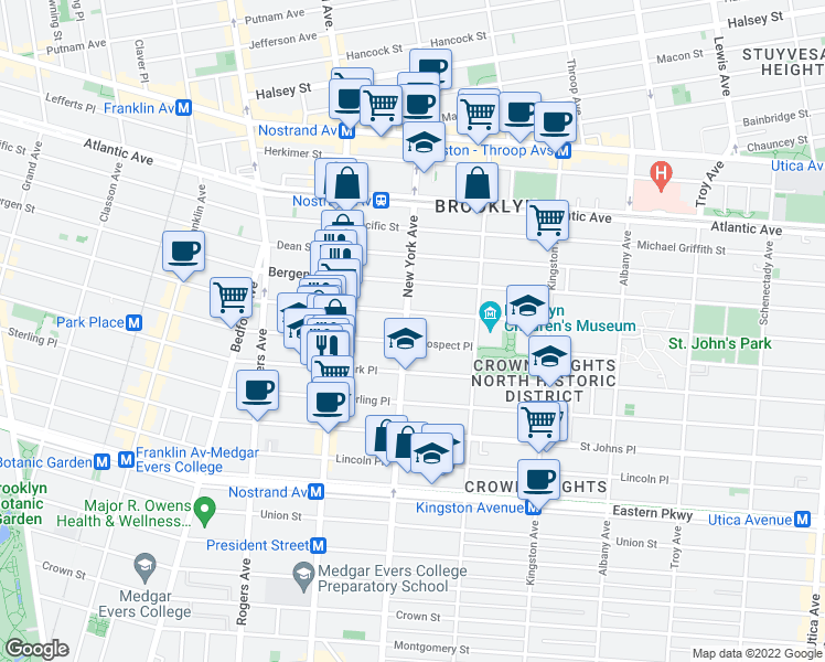 map of restaurants, bars, coffee shops, grocery stores, and more near 175 New York Avenue in Brooklyn
