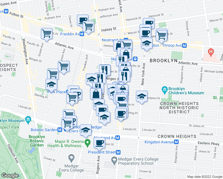 map of restaurants, bars, coffee shops, grocery stores, and more near 664 Saint Marks Avenue in Brooklyn