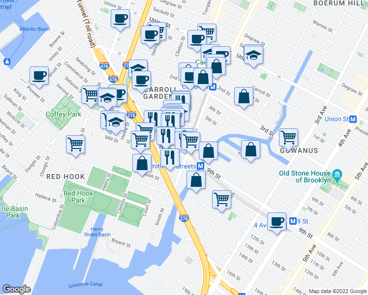 map of restaurants, bars, coffee shops, grocery stores, and more near 204 Huntington St in Brooklyn