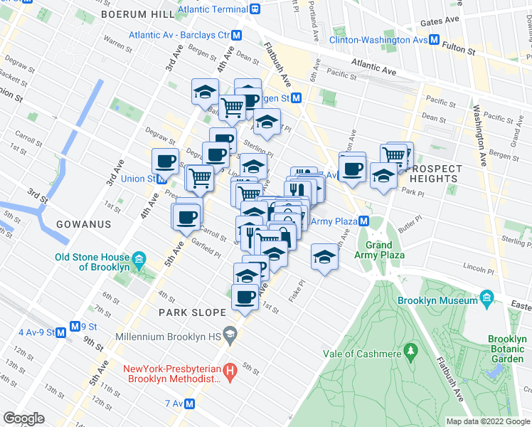 map of restaurants, bars, coffee shops, grocery stores, and more near 106 Berkeley Place in Brooklyn