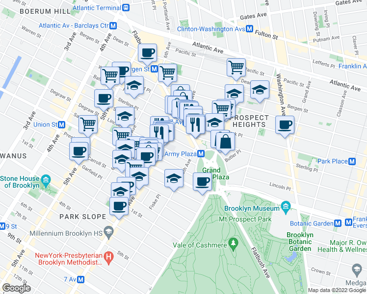 map of restaurants, bars, coffee shops, grocery stores, and more near 232 Saint Johns Place in Brooklyn