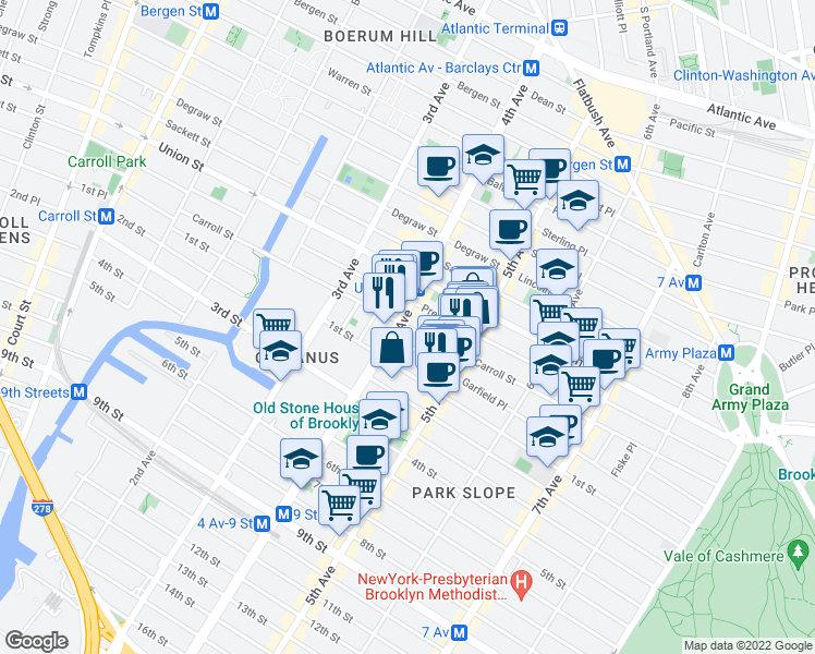 map of restaurants, bars, coffee shops, grocery stores, and more near 578 Carroll St in Brooklyn